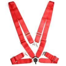 """Négypontos,körcsatos 3""""széles biztonsági öv(piros)"""